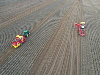 traktor i kombajn na polu uprawnym